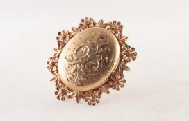 9ct GOLD OVAL BROOCH OR LOCKET PENDANT, matt finish with bright cut engraved foliate scroll front,