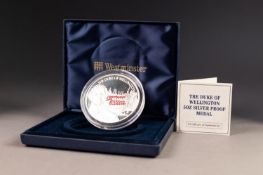 WESTMINSTER FIVE OUNCE SILVER PROOF 'THE DUKE OF WELLINGTON' MEDALLION,  obverse with bust and
