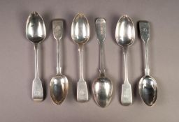 SET OF FOUR VICTORIAN SILVER FIDDLE PATTERN DESSERT SPOONS BY JAMES & JOSIAH WILLIMAS, initialled,