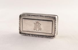VICTORIAN SILVER SNUFF BOX, oblong, the hinged lid having engine turned border and raised and chased