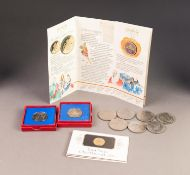 TWO GEORGE V SILVER JUBILEE COMMEMORATIVE MEDALLIONS, boxed; SEVEN CHURCHILL CROWN COINS, 1965;