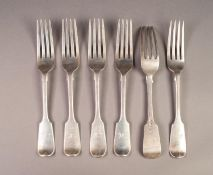 SET OF SIX VICTORIAN SILVER FIDDLE PATTERN FORKS BY GEORGE W ADAMS, initialled, 8? (20.3cm) long,