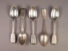SET OF FIVE VICTORIAN SILVER FIDDLE PATTERN TEASPOONS BY JAMES & JOSIAH WILLIAMS, initialled, 6? (