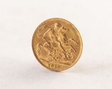 EDWARD VII GOLD FULL SOVEREIGN, dated 1910 (VF)