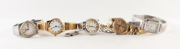 LADY?S ROTARY GOLD PLATED BRACELET WATCH, with quartz movement; two ladies Seiko quartz watches