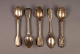 SET OF FIVE VICTORIAN SILVER FIDDLE AND THREAD PATTERN COFFEE SPOONS BY JAMES & JOSIAH WILLIAMS,