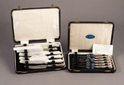 TWO MATCHING CASED SETS OF SIX AFTERNOON TEA KNIVES WITH FILLED QUEENS PATTERN HANDLES, (2)