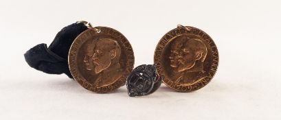TWO GOLD PLATED MEDALLIONS commemorating the visit of King George V and Queen Mary to Irlam and