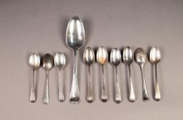 GEORGE II SILVER DESSERT SPOON BY JEREMIAH KING, initialled, London 1744, together with a SET OF SIX