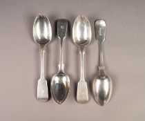 SET OF FOUR VICTORIAN SILVER FIDDLE PATTERN DESSERT SPOONS BY ROBERT, JAMES & JOSIAH WILLIAMS,