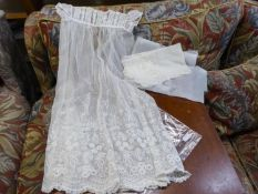 A POSSIBLY EDWARDIAN LACE EMBROIDERED INFANTS CHRISTENING GOWN WITH SCARF