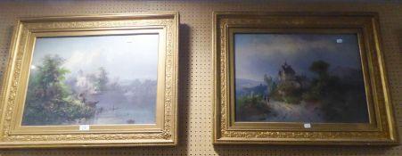 PAIR OF COLOUR PRINTS Bavarian landscapes 16? x 21 ½? In moulded gilt frames, (2)