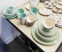 POOLE POTTERY PART TEA SERVICE FOR 6 PERSONS, 19 PIECES, DUCK EGG BLUE WITH GREY INTERIORS (ONE