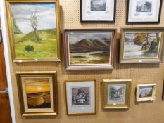 WATERCOLOUR PRINT 'SUNSET', ANOTHER SCENIC SCENE AND FIVE OTHER PICTURES VARIOUS (7)