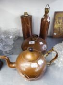 ?WUMUP? COPPER DISCUS SHAPED HOT WATER BED WARMER; TWO COPPER CYLINDRICAL HOT WATER BOTTLES AND A