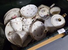 REGENCY BONE CHINA PART TEA SET FORMERLY FOR SIX PERSONS, PRINTED PINK ROSES DESIGN (LACKS ONE CUP),