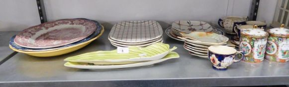 GRINDLEY LARGE MEAT PLATE, TWO OTHERS, TWO CARLTON WARE LEAF DISHES, SET OF FOUR J & G MEAKIN '