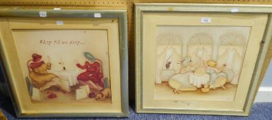 A.S. THOMAS A PAIR OF WATERCOLOUR DRAWINGS'SHOP TIL WE DROP'' AND SEATED FEMALE FIGURE IN BALL