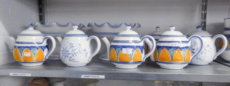 SIX 'GERBINO' MADE IN ITALY POTTERY TEAPOTS AND TWO SIMILAR STYLE POTTERY PEDESTAL BOWLS