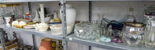 A GOOD SELECTION OF POTTERY, CHINA AND GLASSWARES, VIZ VASES, JUGS, ORNAMENTS ETC....
