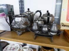A SELECTION OF INTER-WAR YEARS HAMMERD PEWTER, TO INCLUDE; A THREE PIECE TEA SET, CONDIMENT SET,