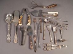 MIXED LOT OF ELECTROPLATED CUTLERY, to include: ASPARAGUS TONGS, HORS D?OEUVRES KNIVES AND FORKS,