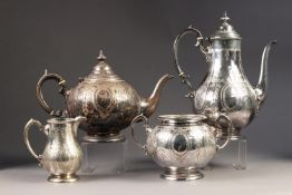 VICTORIAN ELECTROPLATED FOUR PIECE TEA AND COFFEE SET, of circular form with scroll handles,