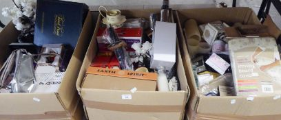 CONTENTS OF FOUR BOXES, TO INCLUDE; HANDBAGS, SHOES, PERFUMES, CHRISTMAS ITEMS (SOME UNOPENED