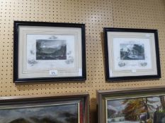 PAIR OF ETCHINGS 'WHITE MOUNTAINS' NELL HAMPSHIRE AND 'ALBANY FROM VAN RENSSELAERS' ISLAND'