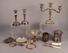 MIXED LOT OF ELECTROPLATE, to include: THREE LIGHT CANDELABRUM, PAIR OF CANDLESTICKS, PRESENTATION
