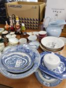 BLUE AND WHITE BOWLS TO INCLUDE; WEDGWOOD 'WILLOW', BOWLS, PLATES, TOILET JUG ETC.....