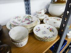 MINTON CHINA 'MARLOW' PATTERN TEA SET FOR FOUR PERSONS, FLUTED AND FLORAL PRINTED, 12 PIECES