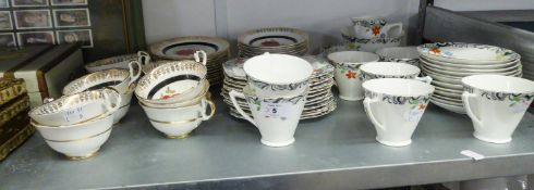 IMPERIAL CHINA PART TEA SERVICE OF 34 PIECES, HAVING ROSE DECORATION AND A HEATHCOTE CHINA PART