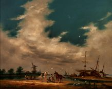 GUDRON SIBBONS (b.1925) OIL PAINTING ON CANVASA Dutch river estuary with windmill, beached sailing