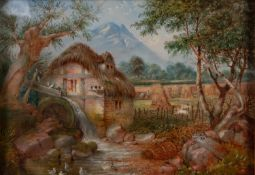 T. LYNON (Nineteenth Century)OIL PAINTING ON CARDBOARD A rustic watermill with figures at work,