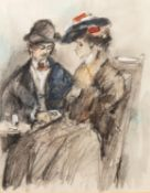 LATE NINETEENTH CENTURY CONTINENTAL SCHOOLMIXED MEDIA Man and a woman seated at a café