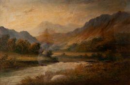 J. ELLIS (LATE NINETEENTH/ EARLY TWENTIETH CENTURY) OIL PAINTING ON CANVAS ?On the Lleder, Wales?