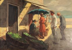 RICARDO TOSTI (1910-1986) OIL PAINTING ON CANVAS A Mediterranean scene with customers at a vegetable