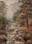 UNATTRIBUTED, (NINETEENTH CENTURY) WATERCOLOUR DRAWING Highland landscape with river in the