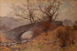 JOSIAH CLINTON JONES (1848-1936) WATERCOLOUR DRAWING Winter landscape with river and bridge Signed