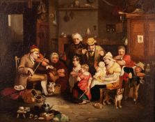 AFTER DAVID WILKIE NINETEENTH CENTURY OIL ON RELINED CANVAS ?The blind fiddler? Unsigned 8? x