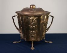 ARTS AND CRAFTS BRASS AND CAST IRON COAL BOX AND COVER, of hexagonal form with domed cover,
