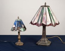 TWO MODERN TIFFANY STYLE TABLE LAMPS, one with conical dragonfly ?leaded? shade, 13 ¼? (33.7cm)