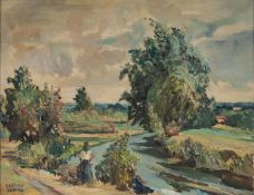 DANTON ADAMS (1904-1990) OIL PAINTINGS ON CANVAS, A PAIR Plein-air landscapes with figures signed