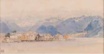 MYLES BIRKET FOSTER R.W.S. (1825-1899) WATERCOLOURAn alpine lake sceneA leaf from a sketch