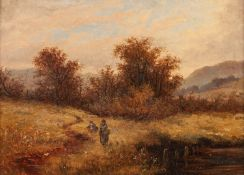 G.S. PEEL (NINETEENTH CENTURY) OIL ON CANVAS ?Near Shoreham?, two figures in a river landscape