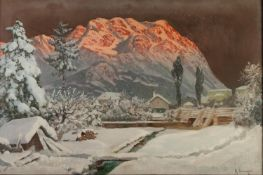 ALOIS ARNEGGER (1879-1963) OIL PAINTING ON CANVASAn alpine landscape in winter,Signed lower right