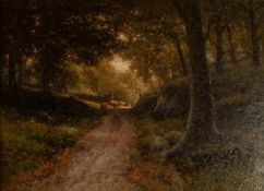 JAMES WILLIAM STASMPER (1873-1947) OIL PAINTING ON CANVAS 'Artists Lane, Alderley Edge, Cheshire'