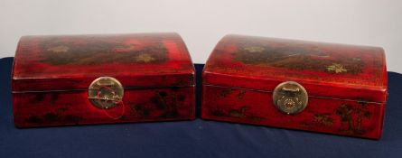 PAIR OF MODERN CHINESE FAUX RED LACQUER PRESENTATION FOUR BOTTLE WINE HOLDERS, each of slightly
