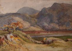 WALTER EASTWOOD (1867-1943) WATERCOLOUR DRAWING Highland landscape with sheep in the foreground